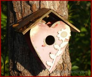 worn birdhouse