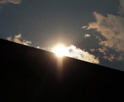 Sun over the barn