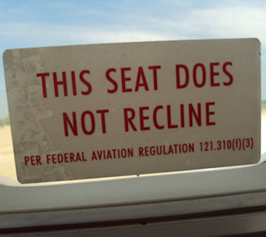 Seat does not recline sign