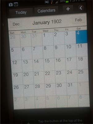smartphone calendar error