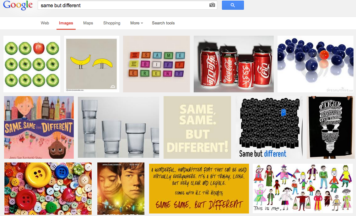 Google Images same but different screenshot