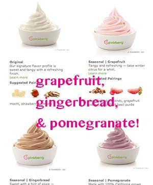 Pinkberry options: mango, gingerbread, pomegranate