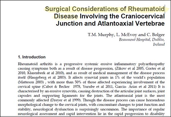 Murphy craniocervical article Rheumatoid Disease