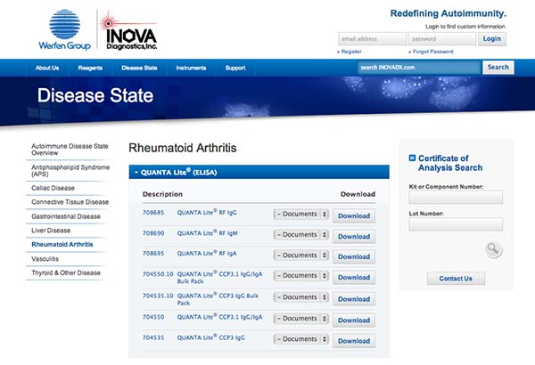 INOVA Diagnostics screenshot