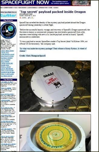 Screenshot of SpaceX secret cheese