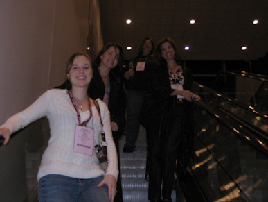 Friends on escalator
