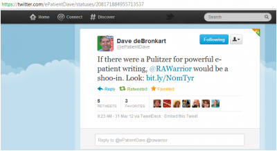 Dave Pulitzer writing Tweet