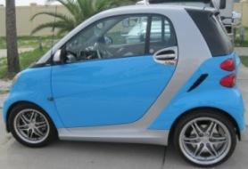 Blue smart car