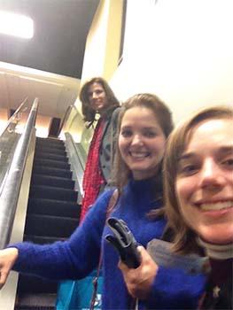 Rheumatoid Patient Foundation volunteers on escalator
