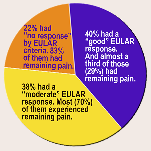 Results of Remaining pain in RA study laid out in handy a pie chart